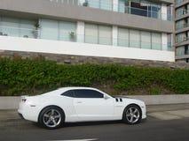 Sidosikt av en vit färg Chevrolet Camaro SS Fotografering för Bildbyråer