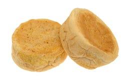 Sidosikt av engelska muffin för ett stort format på en vit bakgrund royaltyfria bilder