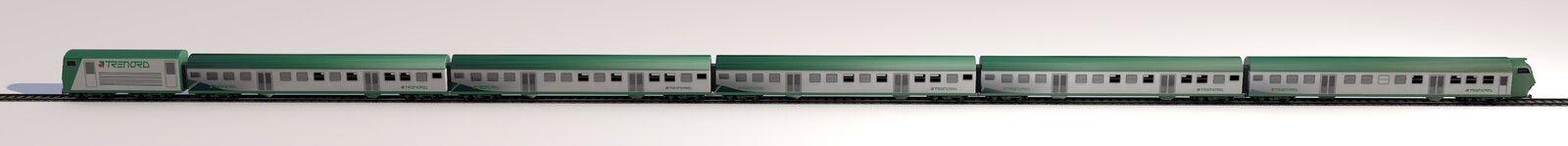 Sidosikt av ett drev, järnväg eskortfartyg Trenord milan italy stock illustrationer