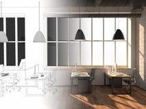 Sidosikt av ett vitt kontor av ett företag med en två stor tabell, två datorer som står på dem, ett panorama- fönster och royaltyfri foto