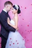 Sidosikt av romantiska brölloppar som omfamnar mot rosa bakgrund Royaltyfri Bild