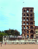 Sidosikt av tornet för thanjavurmarathaslott Arkivbild