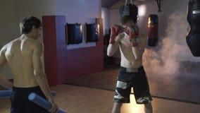 Sidosikt, närbild av en boxareutbildning Begreppet av sporten, boxning, styrka, boxningpäronet och handskar, stansmaskin lager videofilmer