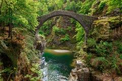 Sidosikt på det Ponte Romano Intragna Bridge nederlaget i vallen arkivfoto