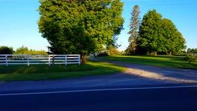 Sidosikt som kör förbi lantlig jordbruksmark i dag Chaufför Point av sikten POV som kör den förgångna bygdlantgården stock video