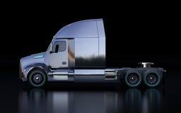 Sidosikten av den svarta amerikanska bränslecellen drev lastbilkabinen på svart bakgrund stock illustrationer