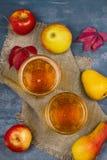 Sidra con las frutas Vidrios de sidra con las manzanas y las peras Alimento y concepto de la bebida Fotos de archivo