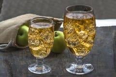 Sidra de maçã com cubos de gelo Fotos de Stock Royalty Free