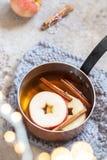 Sidra de maçã quente com canela da queda e anis de estrela fotos de stock royalty free