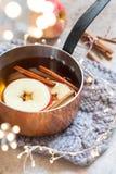 Sidra de manzana caliente con canela de la caída y anís de estrella fotos de archivo libres de regalías