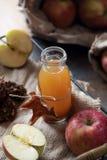 Sidra de manzana fresca hecha en casa en un tarro fotografía de archivo libre de regalías