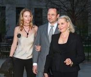 Sidsel Robards, Sam Robards en Lauren Bacall stock foto