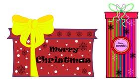 Sieć Bożenarodzeniowy skład na drewnianym tle Xmas dekoracji projekt, pudełkowaty prezent, błyskotliwości płatek śniegu, złoto le royalty ilustracja