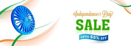 Sieć chodnikowiec lub sztandaru projekt dla 15th Sierpniowej sprzedaży z 80% Daleko Obrazy Stock
