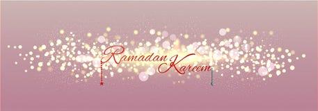 Sieć chodnikowiec lub sztandaru projekt z tekstem Ramadan Kareem na błyskotaniu ilustracji
