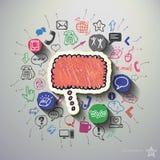 Sieć kolaż z ikony tłem Obrazy Stock