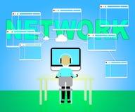 Sieć Komputerowa Reprezentuje Globalne komunikacje I Komunikuje royalty ilustracja