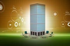Sieć komputerowa wokoło budynku w colour plecy ziemi ilustracja wektor