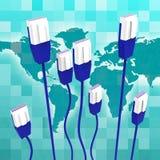 Sieć Komputerowa Znaczy Globalne komunikacje I kabel royalty ilustracja