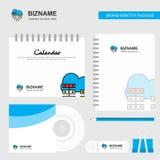 Sieć komunikacyjny logo, Kalendarzowy szablon, cd pokrywa, dzienniczek i USB, Oznakujemy Stacjonarnego pakunku projekta wektoru s ilustracja wektor