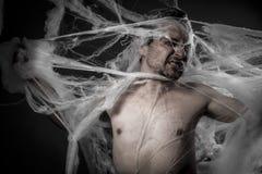 Sieć. mężczyzna czochrający w ogromnej białej pająk sieci Obrazy Stock