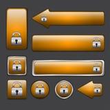 Sieć pomarańczowi guziki Obrazy Stock