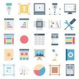 Sieć projekt, dane i rozwój Odosobnione Wektorowe ikony, ilustracja wektor