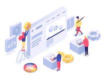 Sieć projekt i rozwój isometric ilustracja royalty ilustracja