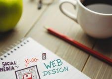 Sieć projekta doodle na notepad obok kawy i jabłka Zdjęcie Royalty Free
