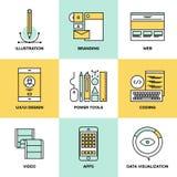 Sieć projekta i rozwoju mieszkania linii ikony Fotografia Stock