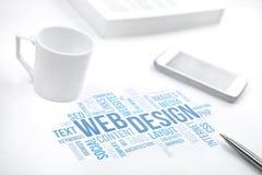 Sieć projekta pojęcia słowa chmury druku biznesowy dokument, smartphon obrazy stock
