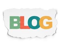 Sieć projekta pojęcie: Blog na Poszarpanym Papierowym tle Obrazy Royalty Free