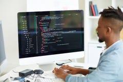 Sieć przedsiębiorca budowlany koduje komputerowego języka obraz stock