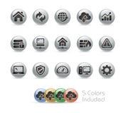 Sieć przedsiębiorcy budowlanego ikony -- Metal Round serie Zdjęcia Stock