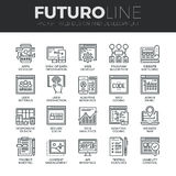 Sieć rozwoju Futuro linii ikony Ustawiać Obraz Royalty Free