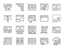 Sieć rozwoju linii ikony set Zawierać ikony jako projekt, przedsiębiorca budowlany, cyfrowanie, zawartość i bardziej zdjęcie stock
