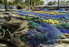 Sieć rybacka w porcie, tło Obrazy Stock