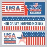 Sieć sztandary usa dzień niepodległości Wektorowy projekta szablon horyzontalni sztandary z amerykanin tożsamości symbolami royalty ilustracja