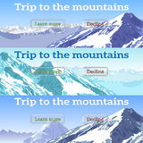 Sieć sztandary ustawiający na temacie góry, przygody, turystyka zdjęcia stock