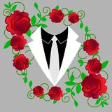 Sieć trójboka Wektorowa kurtka z łęku krawatem royalty ilustracja