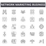 Sieć wprowadzać na rynek biznesowej linii ikony, znaki, wektoru set, liniowy pojęcie, kontur ilustracja ilustracja wektor