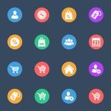 Sieć zakupy wektorowe płaskie ikony na koloru substracie ustawiającym 16 Obraz Royalty Free