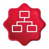 Sieć związków ikony starburst majcheru mglisty różany czerwony guzik ilustracja wektor