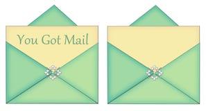 Sie erhielten Post leere Karte mit Enevelope Stockbild