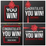 Sie gewinnen Fahnen-gesetzten Vektor Festliches Zeichen Realistischer roter Satin-Bogen Lotterie, Überraschung, Preisträger, Konz vektor abbildung
