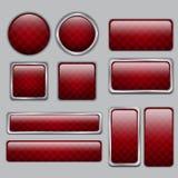 Sieć glansowani Czerwoni guziki Zdjęcie Royalty Free