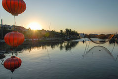 Sieć i lampion w Hoi, Wietnam Zdjęcia Royalty Free