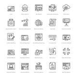 Sieć i SEO linii Wektorowe ikony 32 royalty ilustracja