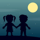 Sie, ich und der Mond Stockfoto