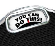 Sie können dieses Wörter tun, Skala-Diät-, dieübung Gewicht verlieren Lizenzfreie Stockfotografie
